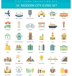 Modern City color flat icon set Elegant vector image