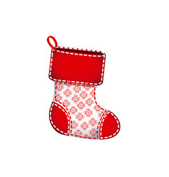 red christmas socks with fur and snowflakes vector image vector image