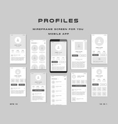 10 in 1 ui kits wireframes screens for your vector