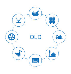 8 old icons vector image