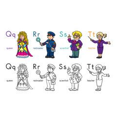 Abc professions coloring book set english alphabet vector