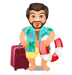 animated male tourist with a suitcase and a vector image