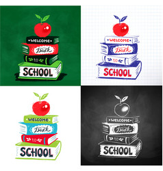 Apple on books with back to school lettering vector