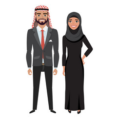 arabic businessman and woman in costume vector image