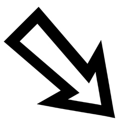 Arrow Right Down Outline Icon vector
