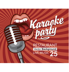 Banner for karaoke party with singing mouth vector