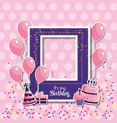 Birthday frame decoration with balloons and cake vector
