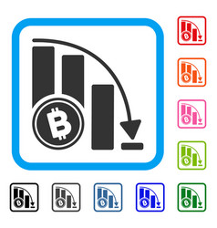 bitcoin falling acceleration chart framed icon vector image