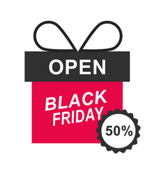 black friday half price discount gift box sticker vector image