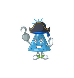 Blue party hat as a pirate having one hook hand vector