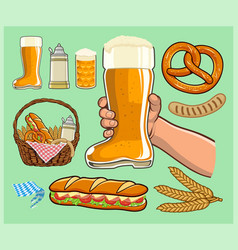 boot beer glass cheers vector image