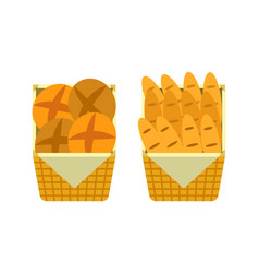 Bread and buns in basket showcase of bakery seller vector