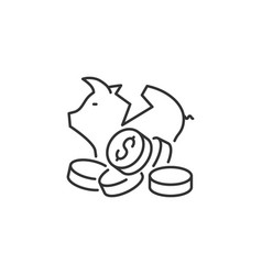 broken piggy bank related line icon vector image