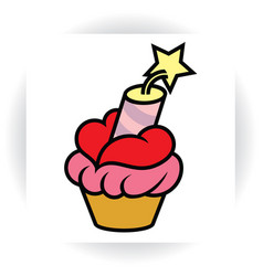 cake with cream in shape of lips and dynamite vector image