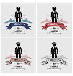 captain or sailor logo design artwork a ship vector image
