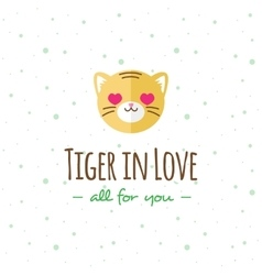 cartoon tiger head logo Flat logotype vector image
