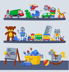 children toys on shelves boy room interior design vector image