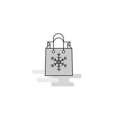 christmas shopping bag web icon flat line filled vector image