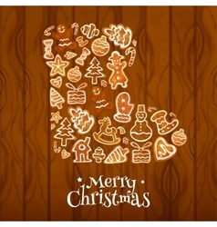 Christmas sock symbol composed gingerbread vector