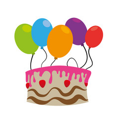 color silhouette with birthday cake and balloons vector image
