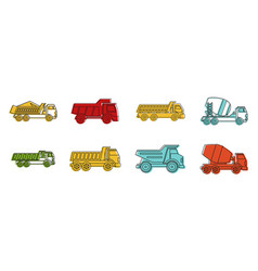 construction truck icon set color outline style vector image