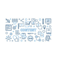 Content concept thin line horizontal vector