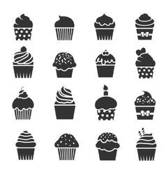 Cupcake icons dessert baking black and white vector