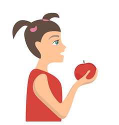 cute little girl with red apple vector image