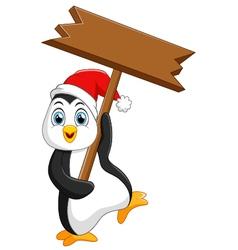 Cute penguin christmas cartoon vector