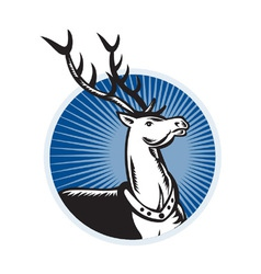 Deer Stag Buck Woodcut Retro vector