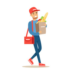 delivery service worker carrying paper bag with vector image