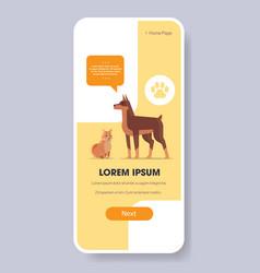 doberman and shiba inu dogs human friend pet vector image