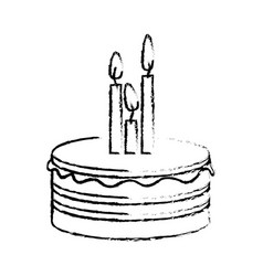 Figure party cake with canddles icon vector
