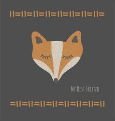funny fox best friendretro style vector image