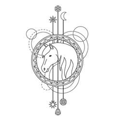 Geometric horse symbol vector