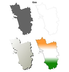 goa blank detailed outline map set vector image