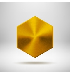 gold abstract polygon button template vector image