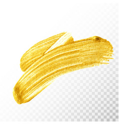 Gold hand drawn paint brush stroke isolated vector