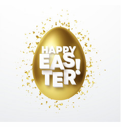 golden metallic shiny eastr egg and typography vector image