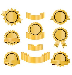 golden seal ribbon vector image