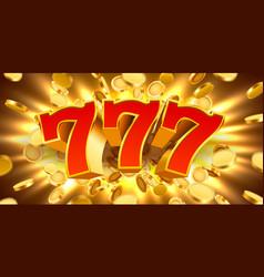 Golden slot machine 777 with flying golden coins vector