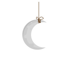 gray moon is suspended on a rope icon vector image