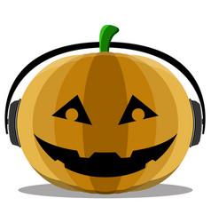 halloween pumpkin with headphones vector image