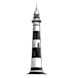 hand drawn sketch of lighthouse in black isolated vector image