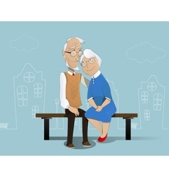 Happy senior couple Cartoon vector