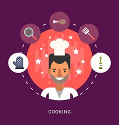in Flat Design Style Food and Cooking Icons and vector image