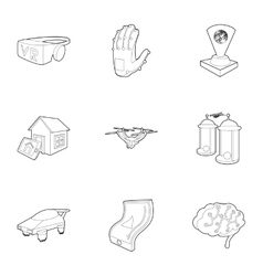 Innovation icons set outline style vector