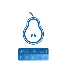 isolated fruit outline pear element can be vector image