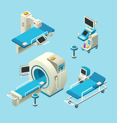 Isometric medical diagnostic equipment set vector