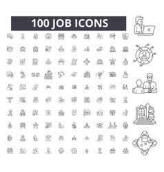 job editable line icons 100 set vector image